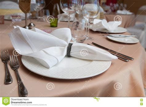 fancy place setting stock photo image of folded fancy set up dinner room in the hotel folded napkin laid on
