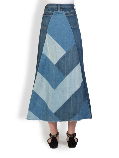 Denim Patchwork Skirt - laurent denim patchwork maxi skirt in blue lyst