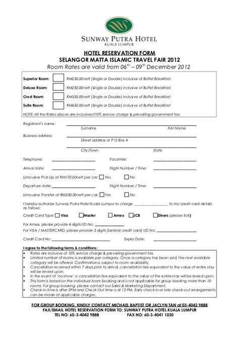 hotel reservation card template hotel reservation form selangor matta islamic travel fair