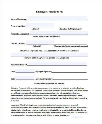 employee transfer form employee transfer form sles 9 free documents in word