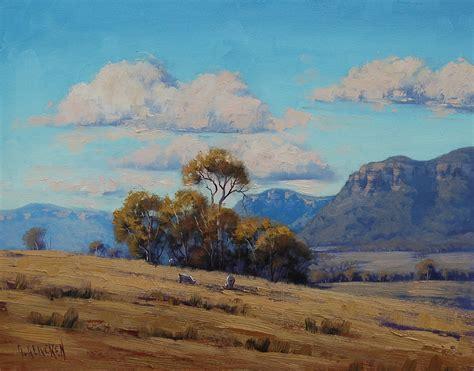 Landscape Paintings Australia Australian Landscape Grazing Sheep By Artsaus On Deviantart