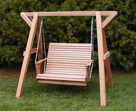wooden swinging bench wood bench swing treenovation