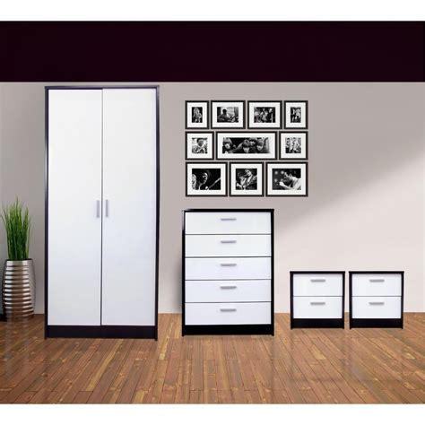 Bedroom Furniture Black And White New High Gloss Black White 4 Bedroom Set With 2 Bedsides Ebay