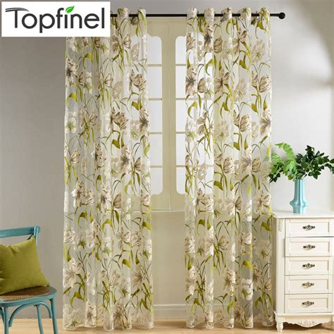 sheer flower curtains tropical floral print semi sheer curtains free shipping