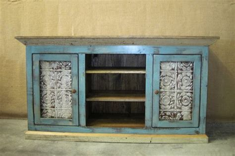 distressed blue console distressed cottage blue media console tv cabinet with storage