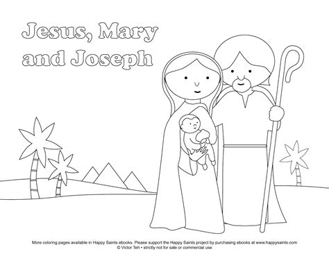 coloring page holy family free coloring pages of jesus mary and joseph