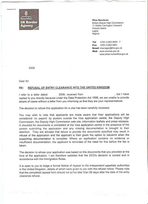 Appeal Letter Sle For Embassy Uk Visa Visa Appeal Process Travel 86 Nigeria