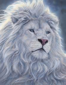 Snow White Duvet Cover White Lion Painting By Lucie Bilodeau