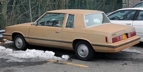 dodge aires file 1984 dodge aries coupe rear left jpg wikimedia commons