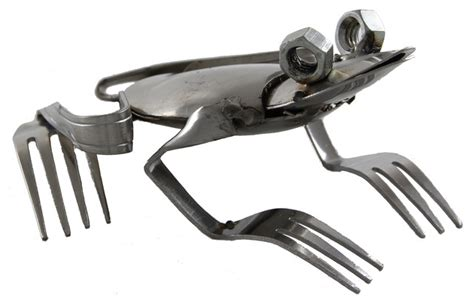 fork and spoon frog contemporary garden statues and