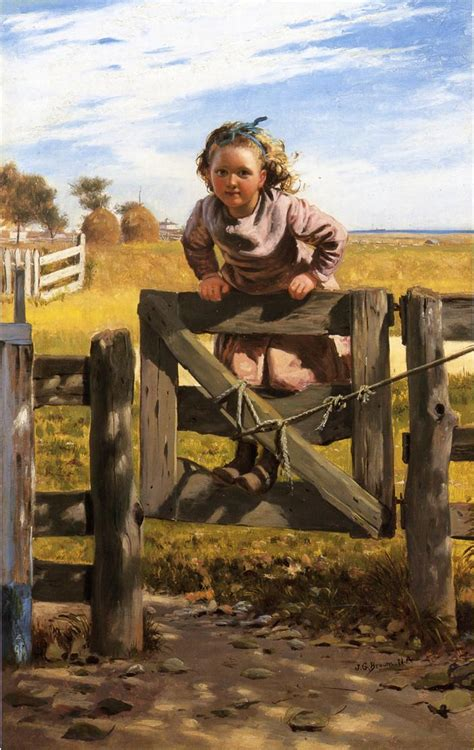 swinging on the gate swinging on a gate southson new york by john george brown