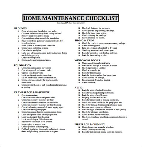 Home Repair Checklist Template home maintenance checklist www imgkid the image kid has it