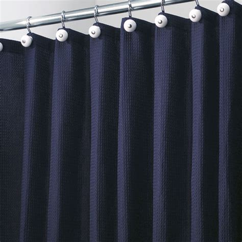 York Fabric Shower Curtain Navy Blue In Shower Curtains