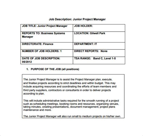 project coordinator description template 9 project manager description templates free sle