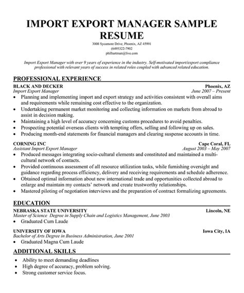 Pin Export Manager Cv Page 1 on Pinterest