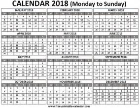 2018 Calendar One Page Free Printable Calendar 2018 For Free Pocket