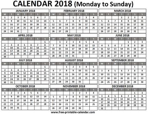 2018 12 Month Calendar Free Printable Calendar 2018 For Free Pocket