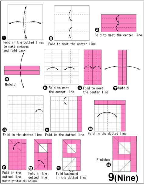 How To Make Origami Numbers - number 9 nine easy origami for