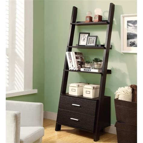 69 Quot Ladder Bookcase With 2 Storage Drawers In Cappuccino Ladder Bookcase With Drawers