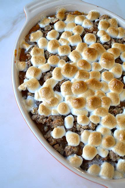 sweet potato casserole with a marshmallow pecan crunch