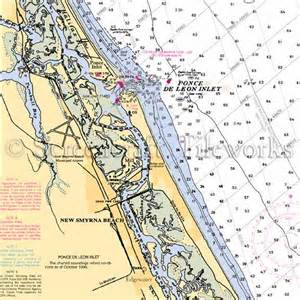 Coastal Kitchen Curtains - florida new smyrna beach ponce inlet nautical chart decor