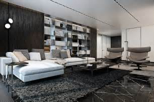 Black Light Rug Three Luxurious Apartments With Dark Modern Interiors