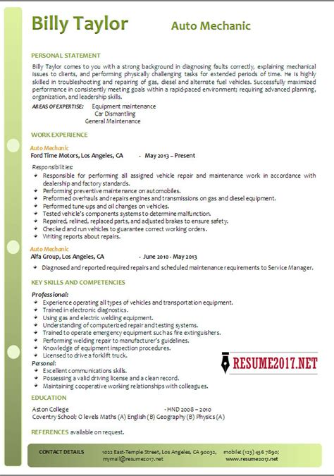 Social Worker Sample Resume by Auto Mechanic Resume Example 2017