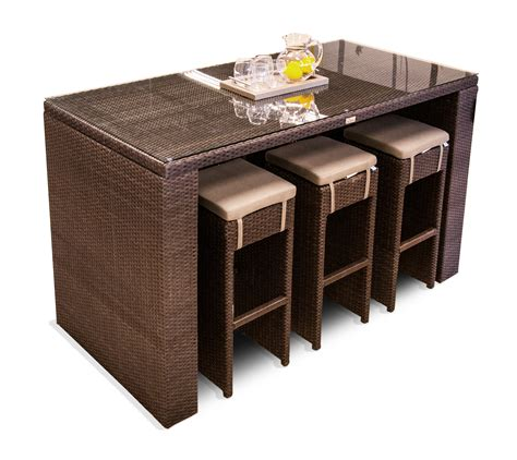 glass top bar table set resin wicker rectangular high glass top patio bar table