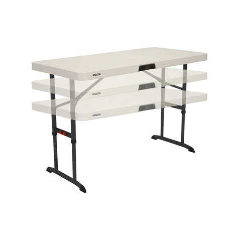 4 Foot Folding Table 4 Foot Commercial Adjustable Folding Table Almond 80370 Pallet Pack