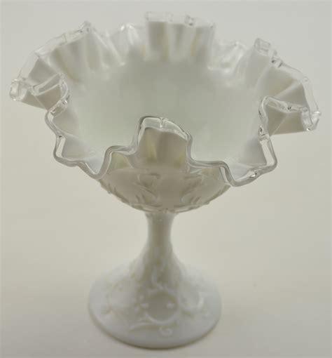 fenton the vintage fenton glass silver crest compote 1970s collectible milk glass decor ebay