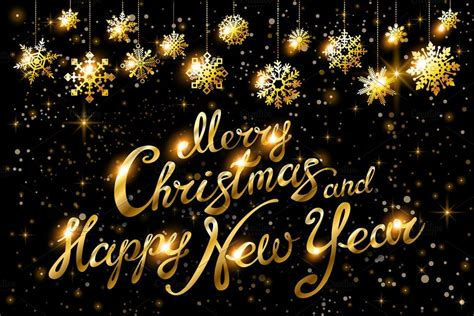 merry christmas happy  year gold graphics creative market
