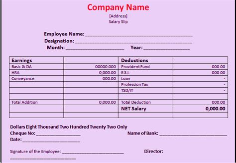 Download Salary Slip Format In Excel and Word   Manager's Club