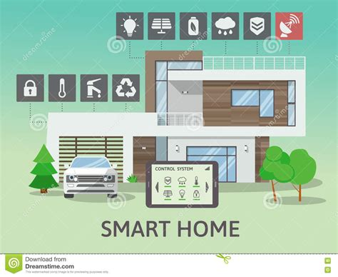 smart home technology system modern big smart home flat design style concept