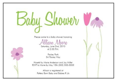 baby shower invite template baby shower invitation templates flower garden whimsy