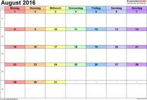 Kalender 2016 August Kalender August 2016 Als Excel Vorlagen