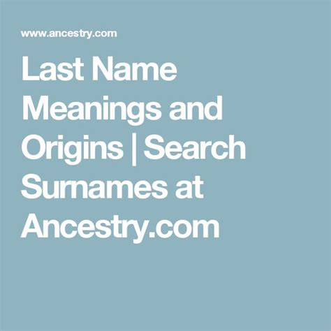 Search Last Name Unknown Last Name Meanings And Origins Search Surnames At