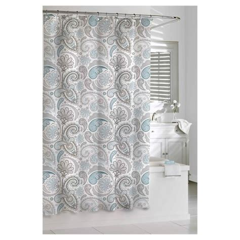 grey and white curtains target kassatex paisley shower curtain blue grey target