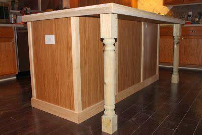 kitchen remodel island update adding trim  legs      custom   piece