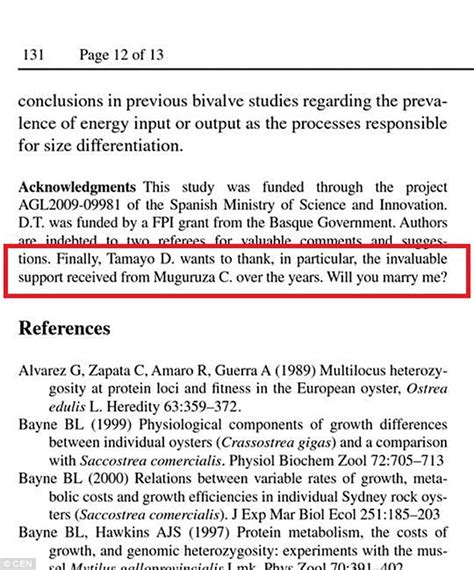 acknowledgements section spanish scientist proposes to his girlfriend in the