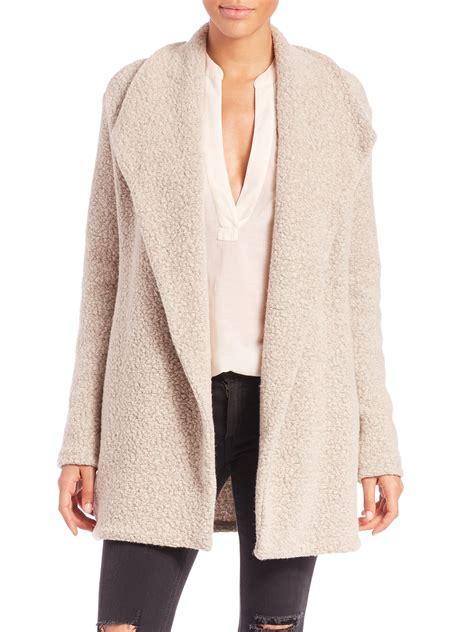 open front draped cardigan james perse fleece draped open front cardigan in natural