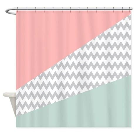 Favorite Designer Mint by Coral Mint Green Chevron Abstract Shower Curtain By Getyergoat
