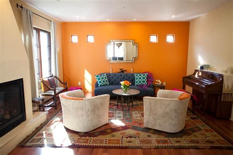 orange wall living room photos hgtv