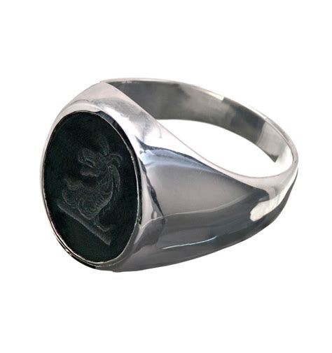 black onyx sterling silver family crest ring regnas