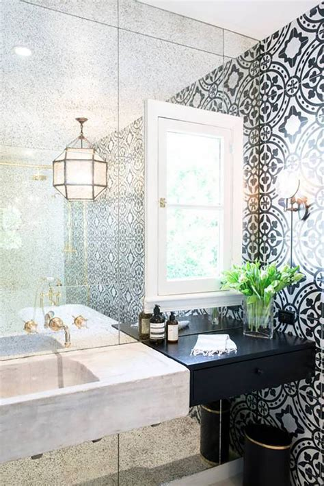 Black and White Bathroom with Moroccan Style Tiles   Tile