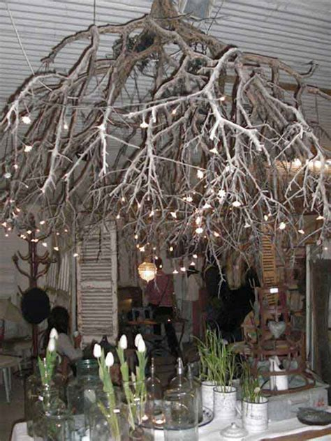 Upside Down Christmas Tree 22 Diy Ideas For Rustic Tree Branch Chandeliers World