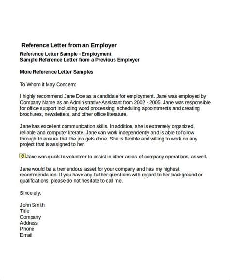 exle of reference letter sle professional reference letter for employment the letter sle