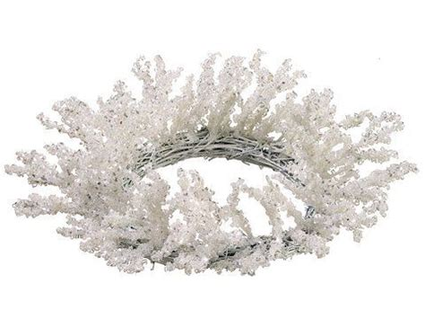 winter candle rings 12 quot snow drift silver glittered iced winter white candle ring wreath by allstate http