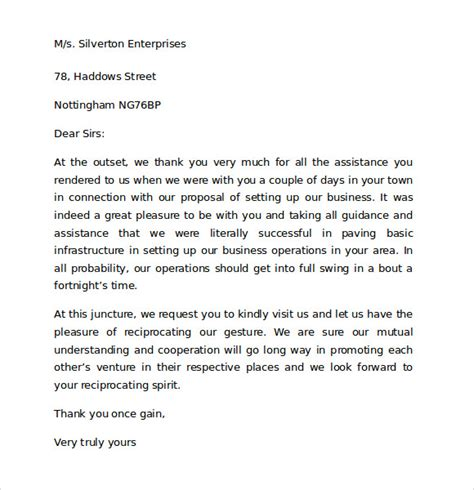 thank you letter to client for hospitality thank you for your business letter 9 free