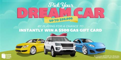 Auto Sweepstakes 2017 - shop your way 500 gas card instant win game