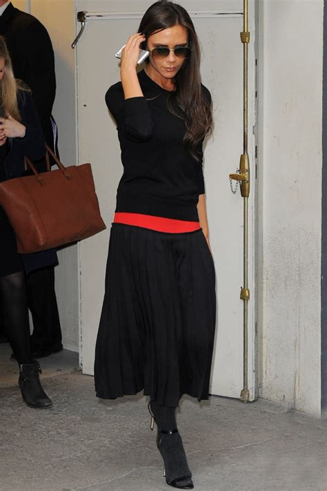 Victoria Beckham Wears Thick Tights With Strappy Heels